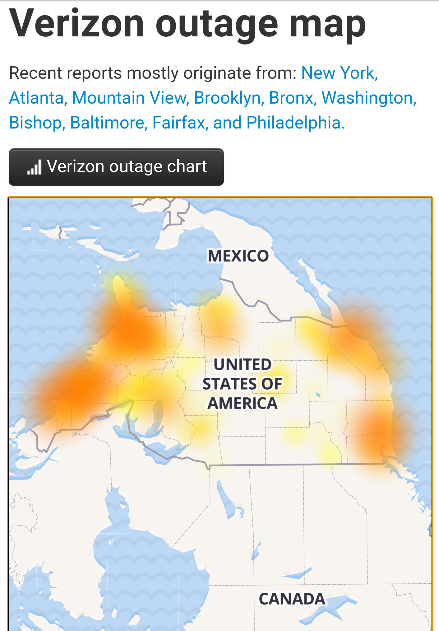 Verizon outage turns the United States upside down.